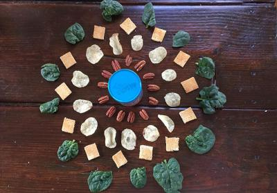 A mandala of foods celebrated this month, from the healthy (spinach) to the not so (potato chips).