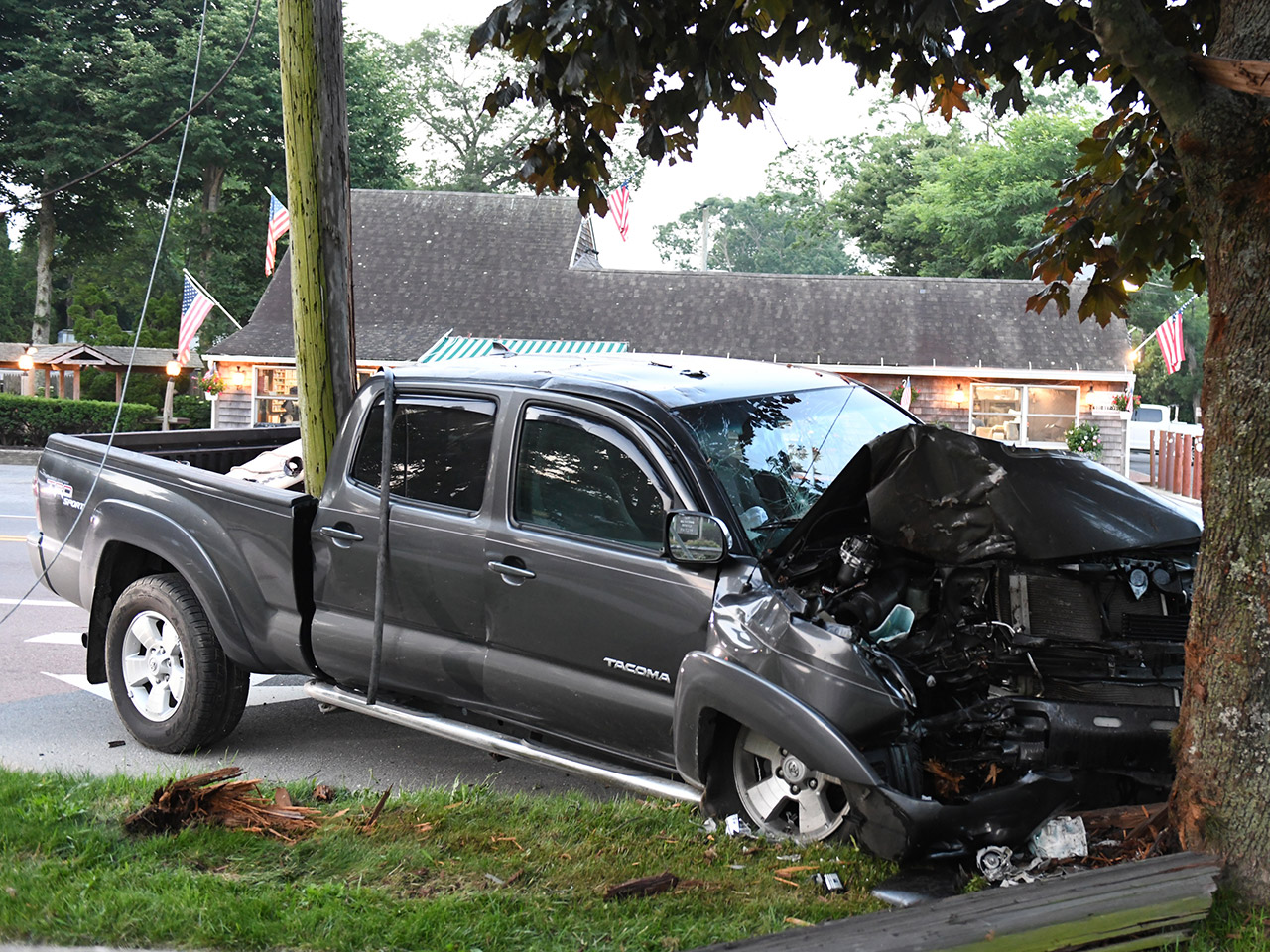 Utility Pole Goes for a Ride in Dawn Crash | The East