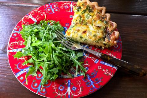 Spinach pie and greens