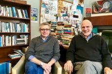 Paul Harding, left, the latest hire in Stony Brook Southampton's M.F.A. program in creative writing and literature, with Robert Reeves, the campus's associate provost