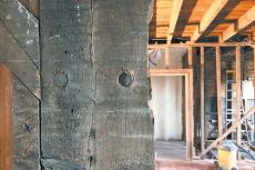The gut renovation of the Montauk Lighthouse keeper's quarters has revealed 100-plus-year-old construction details like this that some on the historical society's lighthouse committee are loath to cover up.